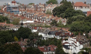 A view of houses in north London on a hillside