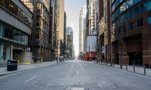 King street in downtown Toronto is empty due to lockdown measures.