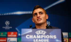 Marco Verratti pictured at Monday's Champions League press conference before Paris Saint-Germain's clash with Arsenal.