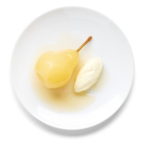 Lemon-vanilla mascarpone serve in quenelles with the pears.