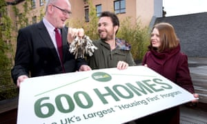 Wheatley Housing Group's Martin Armstrong, Social Bite's Joshua Littlejohn and Suzanne Fitzpatrick,a professor at Heriot-Watt University.