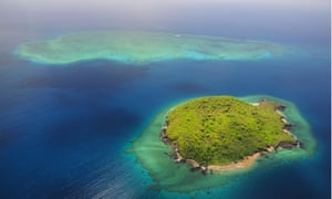 Uninhabited island with coral reef, near Grande Terre island, Mayotte.