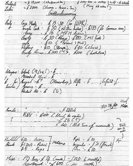 A handwritten nots found in Davies's house listing equipment including a gas mask, trenchcoat, gloves, boots, body armour and a leg pistol-holder as well as ingredients for explosives.