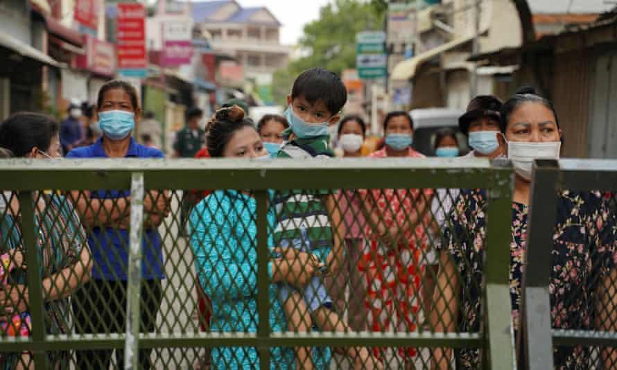 A lockdown barrier in Phnom Penh