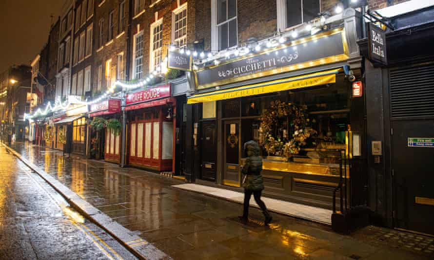The UK service sector has been hit hard by the closure of bars and restaurants in the latest Covid-19 lockdown.