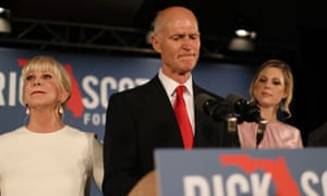 Governor Rick Scott of Florida, who is seeking a Senate seat from the state, has accused 'unethical liberals' of trying to 'steal this election'.