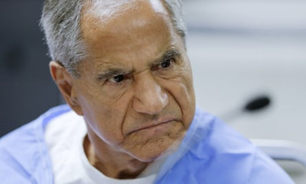 Sirhan Sirhan during a parole hearing in 2016. He was taken to hospital after being stabbed in prison on Friday.