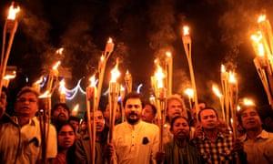 Cultural activists at a torchlight procession