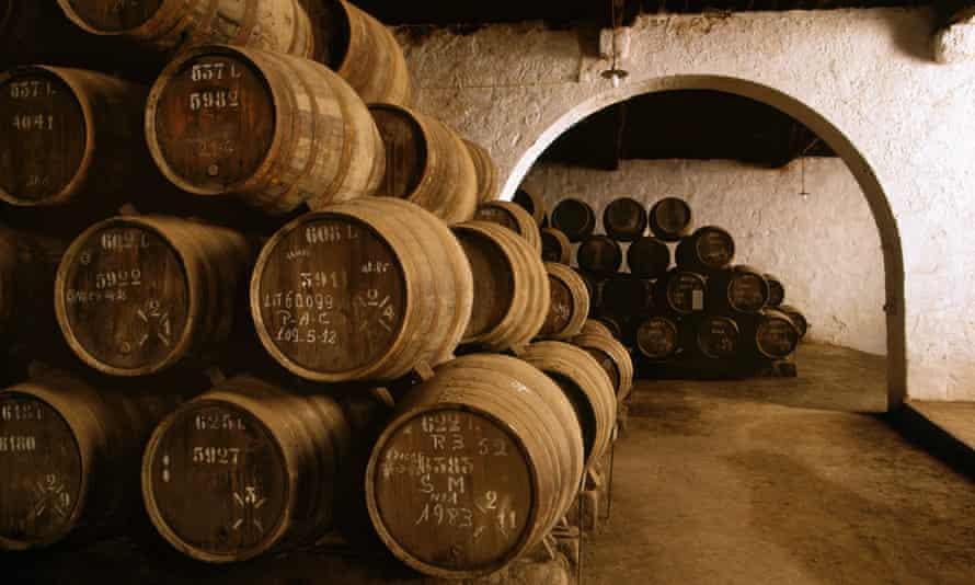 Barrels of Port in a cellar in the city of Vila Nova de Gaia in Portugal.