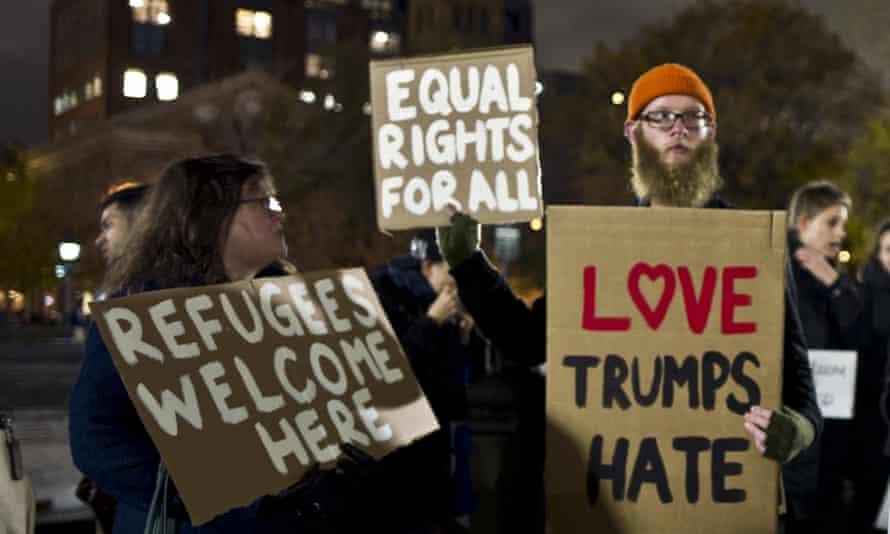 Protestors against Donald Trump in Washington Square Park in New York in November