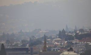 Smoke from multiple bushfires burning in Tasmania is seen in Hobart