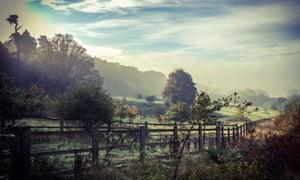 Walking to work near Haywards Heath, West Sussex.