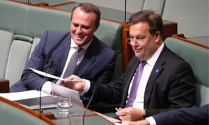 QT 13/2/19<br>Jason Falinski and Tim Wilson after question time in the house of representatives in parliament house Canberra this afternoon. Wednesday 13th February 2019. Photograph by Mike Bowers. Guardian Australia