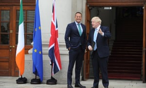 Boris Johnson meeting Leo Varadkar (left) in Dublin.e