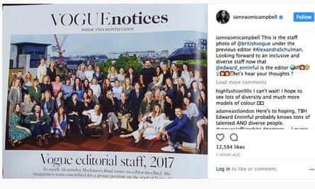 Naomi Campbell said she was looking forward to having a more inclusive and diverse staff of British Vogue under its new editor, Edward Enninful.