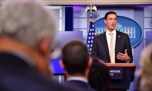 Tom Bossert speaks to the media about the government's response to Harvey.