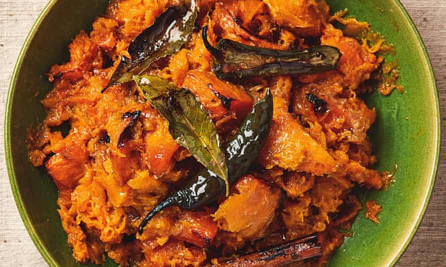 Yotam Ottolenghi's rough squash mash with miso, chilli and cinnamon.