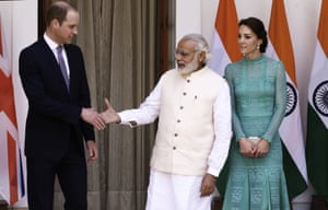The pair arrive for a lunch with the Indian prime minister, Narendra Modi. The duchess wears a mint lace Temperley dress