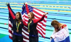 A contrast of celebrations, Yulia Efimova alongside Lily King and Katie Meili