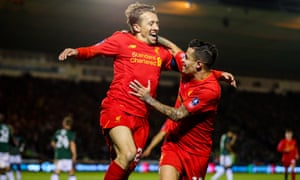 Lucas Leiva, left, celebrates with Philippe Coutinho after opening the scoring.