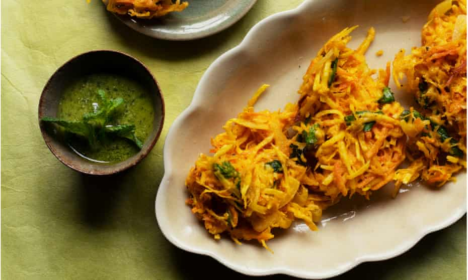 Celeriac and butternut squash fritters with mint pesto