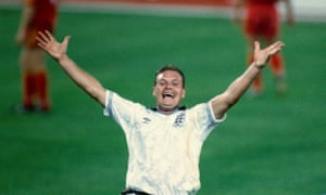 Paul Gascoigne in action for England against Belgium at the World Cup in 1990.