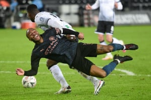 Raheem Sterling seems to enjoy the challenge by Marc Guehi.
