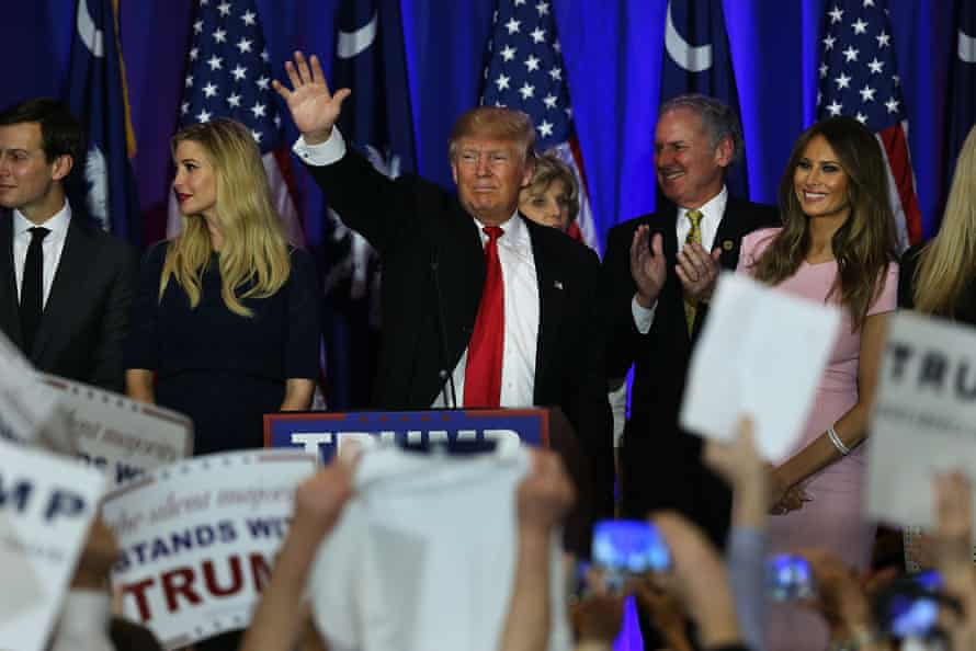 Donald Trump speaks at his election night party in Spartanburg, South Carolina.