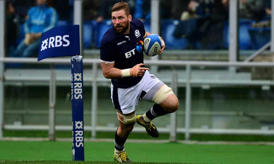 John Barclay runs in Scotland's opening try during their 36-20 win against Italy in Rome