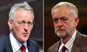 headshots of Hilary Benn and Jeremy Corbyn