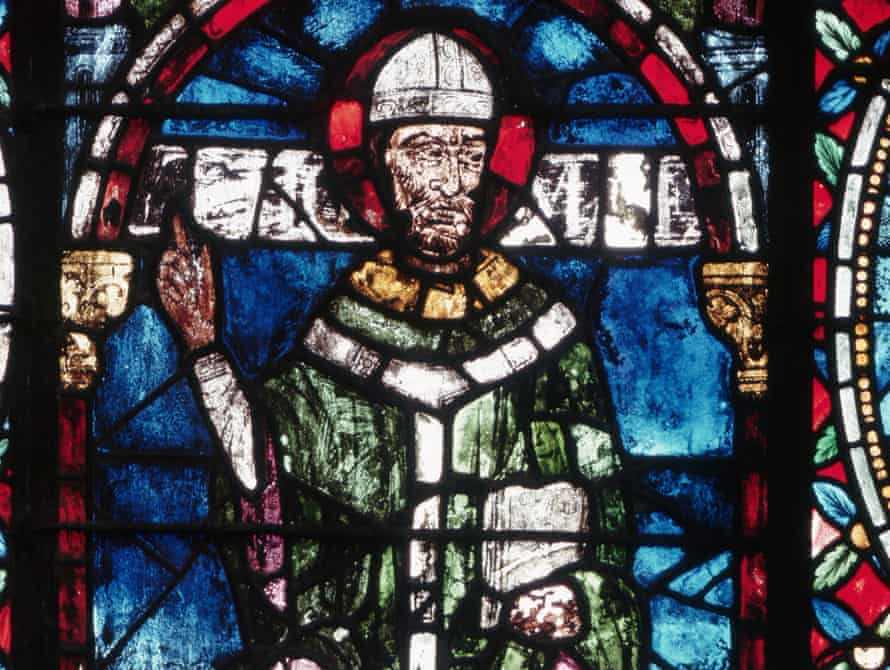Stained glass window depicting St Thomas Becket in Canterbury Cathedral.