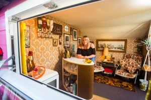 Unexpected category, Louise Mayoh (Devon) with The Retro Retreat This creation was put together using two salvaged sheds and took about 60 hours to complete. It has its own retro bar and an authentic 1970s flavour. A closer look inside reveals quirky patterned wallpaper, an old gas fire, drinks trolley as well as a vintage wireless and two retro armchairs