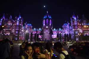 The Chattrapathi Shivaji Terminus (CST) railway station is illuminated ahead of New Year's eve celebrations in Mumbai