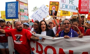 The Democratic presidential candidate Senator Kamala Harris joins a demonstration with striking McDonald's workers demanding a $15 minimum wage in Las Vegas, Nevada, on Friday.