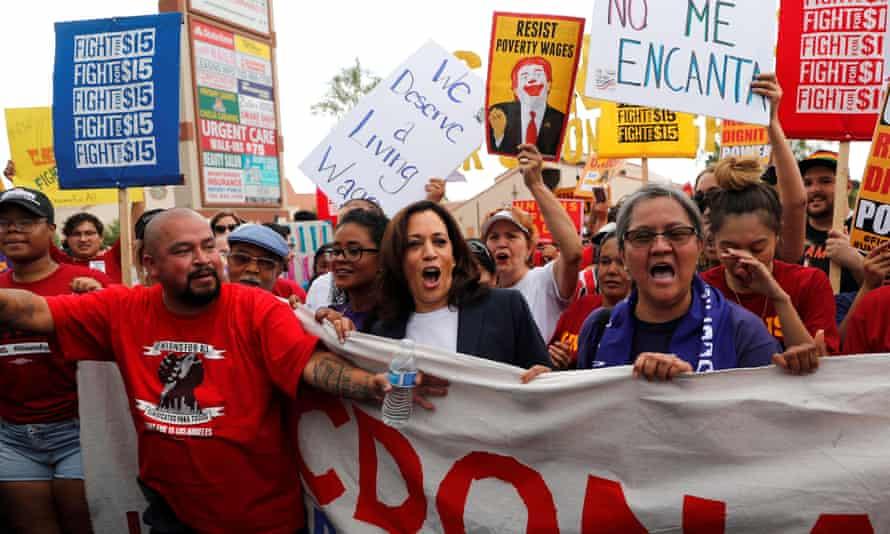 US senator Kamala Harris, center, joins striking McDonalds workers in Las Vegas demanding an increase in the minimum wage.