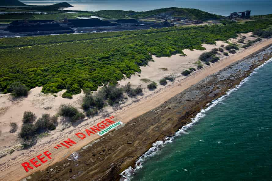 A Greenpeace protest against the proposed coal port at Abbot Point in the Great Barrier Reef.
