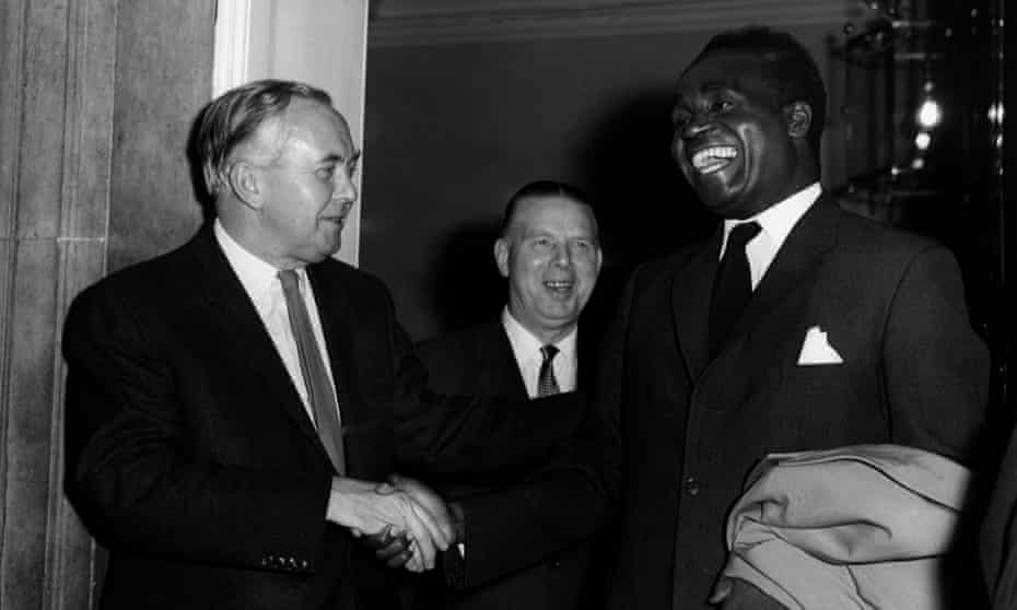 Kenneth Kaunda, right, on a visit to London in 1964, with the UK prime minister Harold Wilson, left, and Arthur Bottomley, secretary of state for Commonwealth relations.