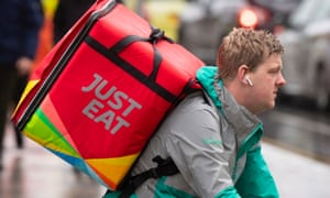 A Just Eat food delivery rider in Cardiff, Wales.
