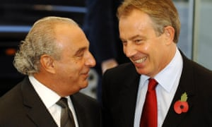 Tony Blair with Philip Green during the opening of the Fashion Retail Academy in central London in 2006.
