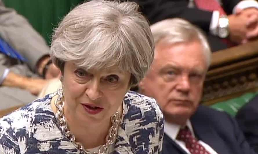 Theresa May speaks in the House of Commons on Monday