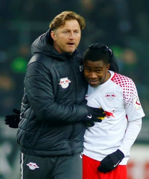The RB Leipzig coach Ralph Hasenhüttl celebrates with Ademola Lookman after the Englishman scored on his debut.