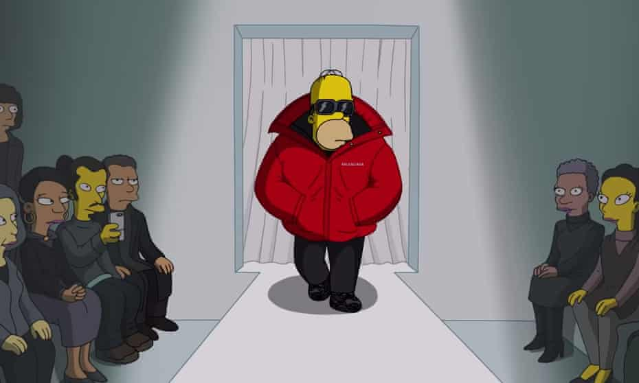 Homer Simpson on the Balenciaga runway in a special episode made for Paris fashion week
