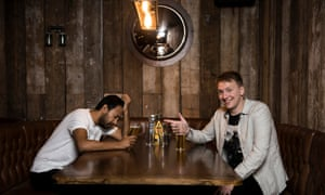Samadder and Joe Lycett drink up.