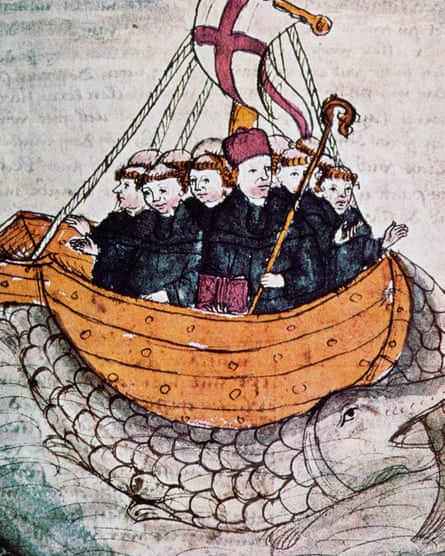 an illustration from the 1460 version of the ancient Voyage of St Brendan the Navigator.