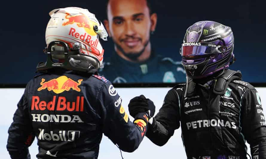 Lewis Hamilton (right) and Max Verstappen greet each other after the race on Sunday.