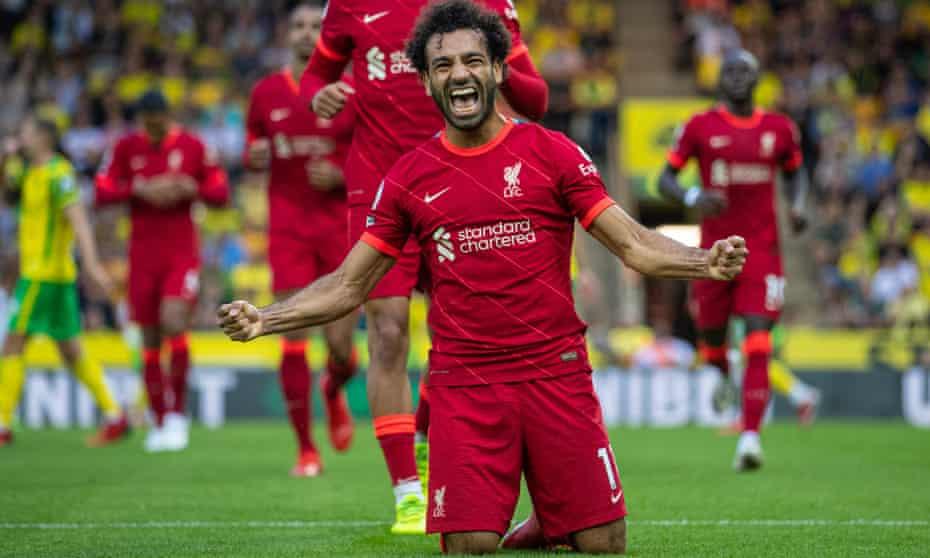 Mohamed Salah celebrates scoring at Norwich