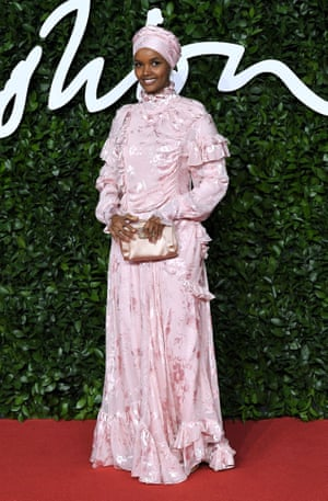 Halima Aden, who was joined by fellow model Amber Valetta to present the award for positive change to signatories of the Fashion Industry Charter for Climate Action
