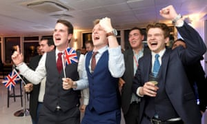 Leave supporters cheer EU referendum results.