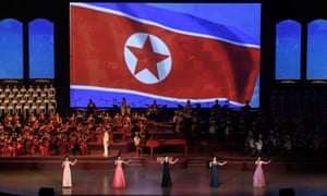 Members of the Chongbong band at Pyongyang indoor stadium.