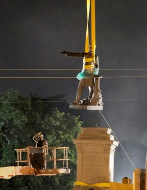 The statue of Confederate President Jefferson Davis is removed in the early   hours in New Orleans in May